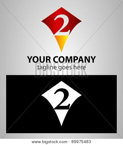 number two 2 logo icon design template elements