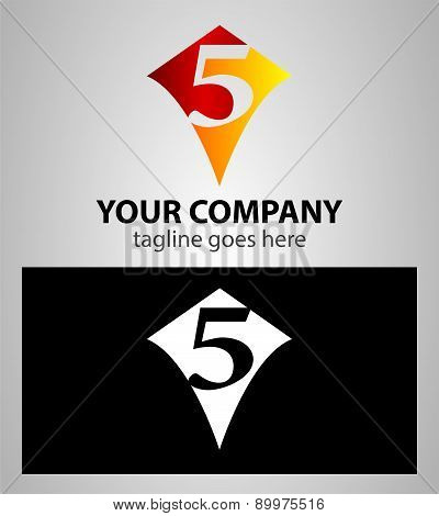 number five 5 logo icon design template elements