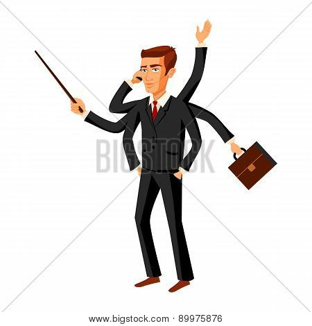 Businessman Running Ihurry With Many Hands Holding Time