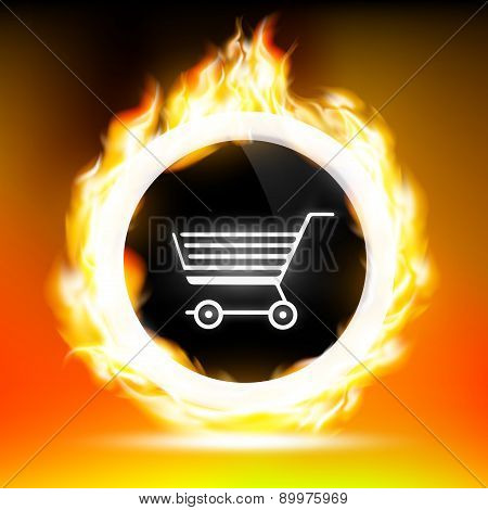 Shopping Cart And Red Flames