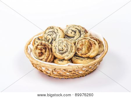 isolated sweet bread rolls with poop and cinnamon