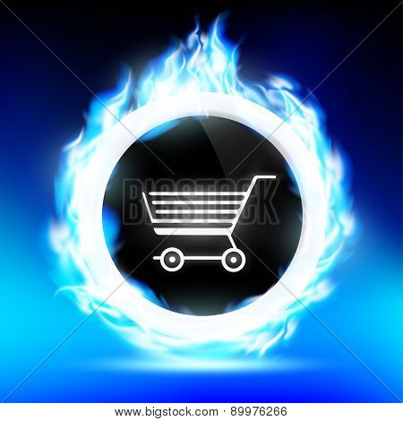 Shopping Trolley Burns With A Blue Flame
