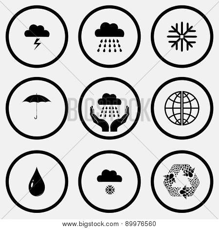 Weather set. Black and white set raster icons.