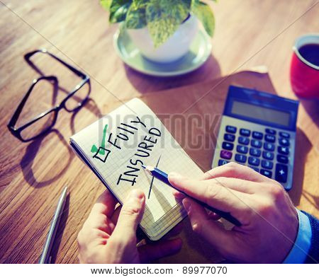 Businessman Notepad Fully Insured Concept