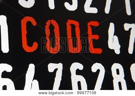 Computer Screen With Code Text On Black Background