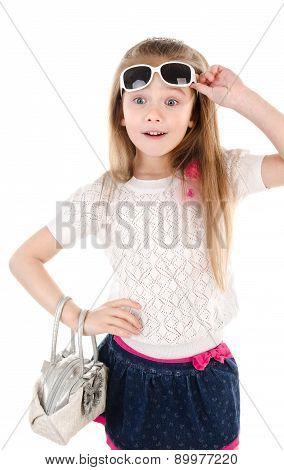Portrait Of Surprised Cute Little Girl