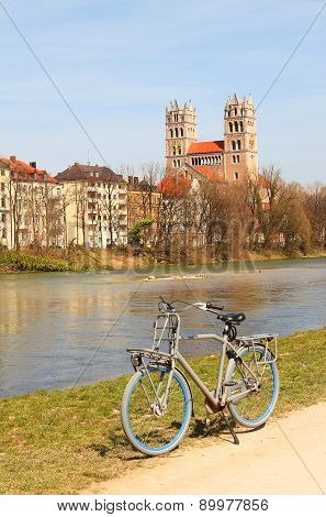 Cycling Along The Riverside Of Isar River, Munich