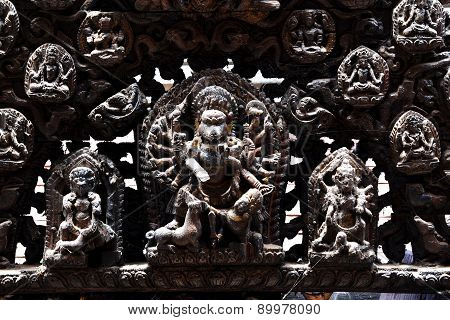 Carved Wooden Details On A Public Hindu Temple. Kathmandu, Nepal