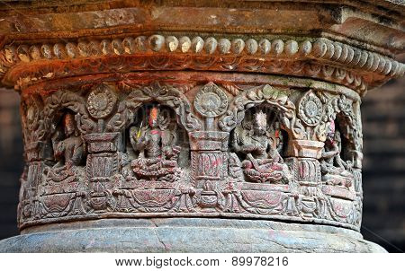 Carved Stone Figures On A Public Hindu Temple