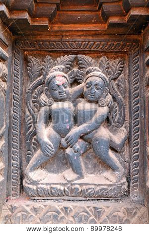 Erotic Wooden Carving Motif On A Hindu Temple In Nepal
