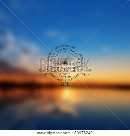 Vector Abstract Blur Background With Sunset