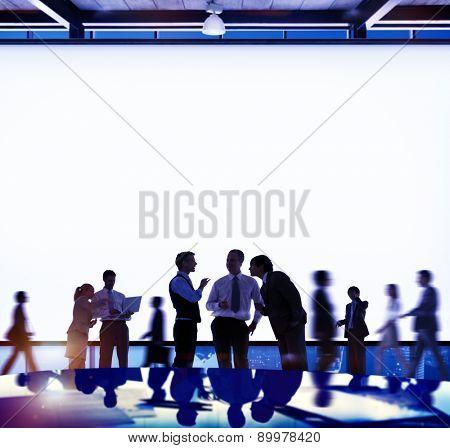 Back Lit Business People Discussion Cityscape Concept