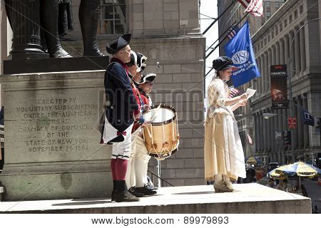 Ceremony for declaration of independence in old costumes