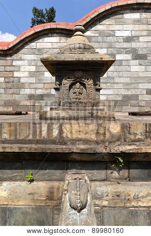 Ancient Unesco Heritage Architecture In Pashupatinath, Now Damaged By Earthquake. Kathmandu, Nepal