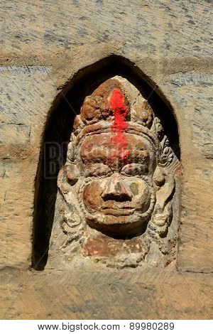 Stone Relief, Sculpture Of Shiva The Destroyer In Pashupatinath, Nepal, Now Destroyed After The Eart