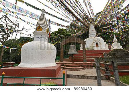 Buddhist Stupa With Prayer Flags In Swayambhunath, Kathmandu, Nepal