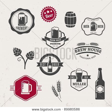 Collection of beer icons, symbols and elements