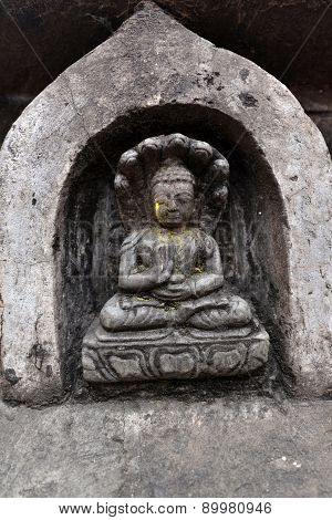 Stone Statuette Of Sitting Buddha In Swayambhunath. Now Destroyed After The Earthquake That Hit Kath