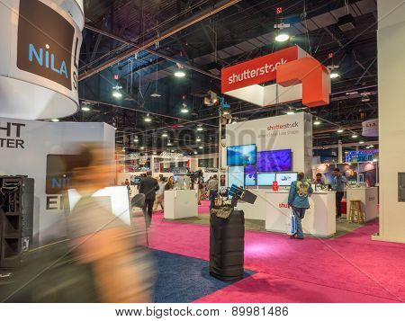LAS VEGAS, NV - April 15: Shutterstock at NAB Show 2015, an annual trade show by the National Association of Broadcasters. Held in Las Vegas Convention Center, April 13-16.