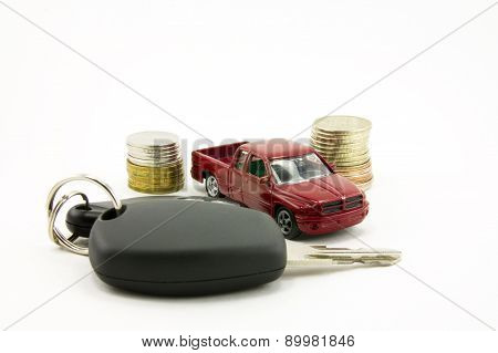 Car Keys And Toy Car  And Money