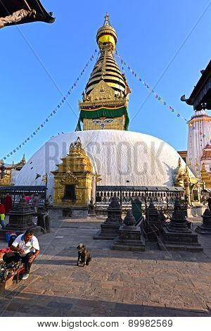 Buddhist Stupa Of Swayambhunath, Kathmandu Remained Intact After The Massive Earthquake That Hit Nep