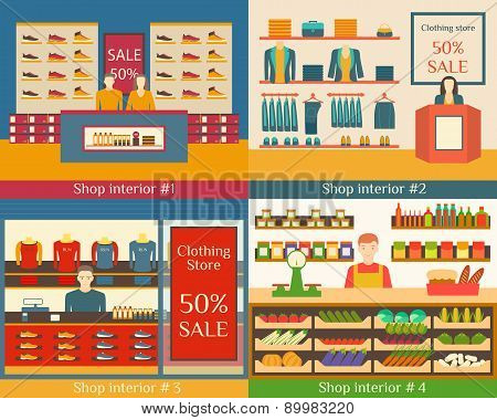 Set of vector illustrations of flat clothing stores, food and beverage sellers.