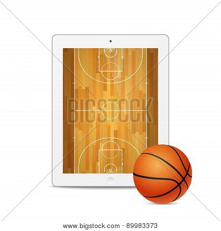Vector Tablet With Basketball Ball And Court On The Screen.