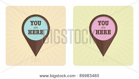 Vector illustration of two vintage pointer signs