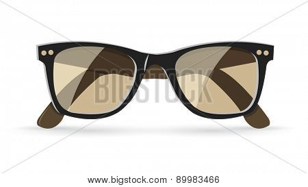 Vector illustration of classic brown sunglasses, isolated on white background, eps10