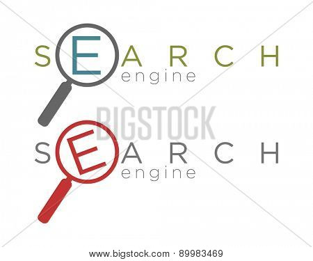 Vector illustration of two flat simple search engine icons