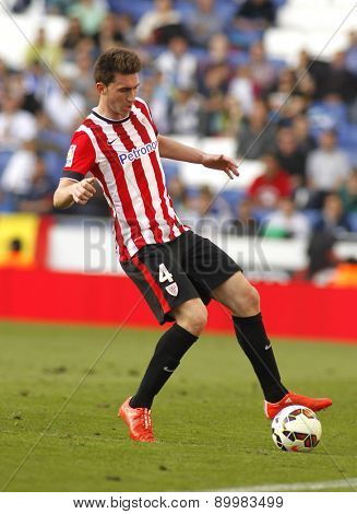BARCELONA - APRIL, 12: Aymeric Laporte of Athletic Club Bilbao during a Spanish League match against RCD Espanyol at the Power8 Stadium on April 12 2015 in Barcelona Spain