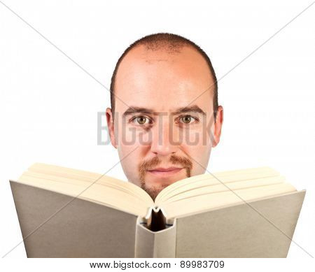 portrait of man reading book isolated on white background