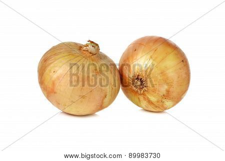 Whole Ripe Onion With Shell On White Background