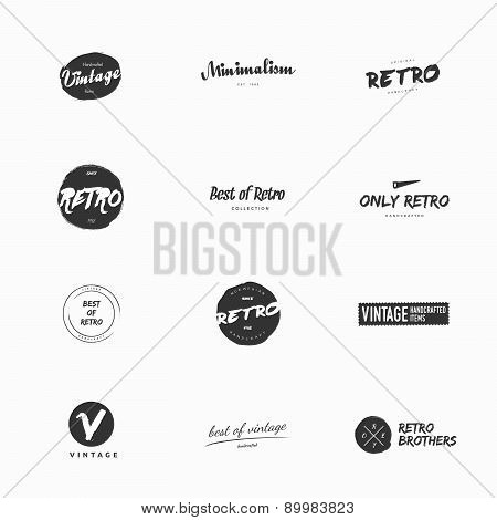 Clean and simple vintage and retro vector logo illustrations