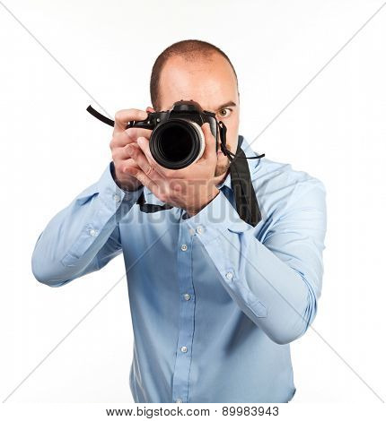 photographer in action isolated on white