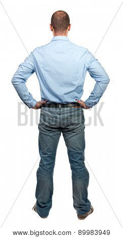 man back view isolated on white