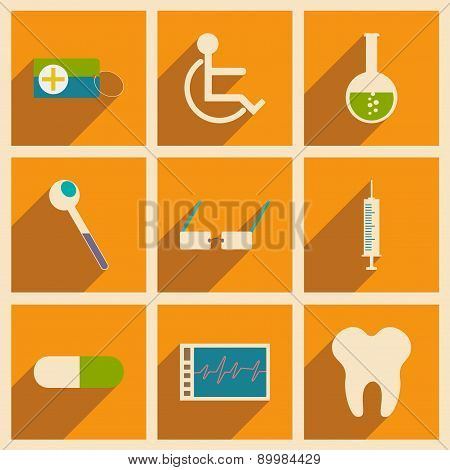 Flat with shadow concept and mobile application medicine icons