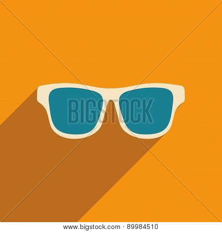 Flat with shadow icon and mobile applacation glasses