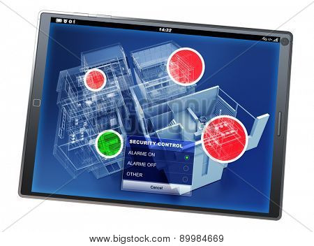 3D rendering of a tablet pc with a home security control app