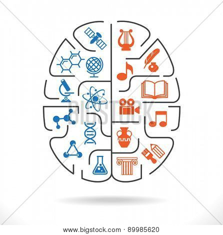 Abstract human brain with the icons of art and science. The concept of work left and right sides of the human brain. Back to school icons. File is saved in AI10 EPS version.