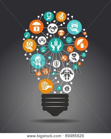 The concept of effective insurance . Light bulb with colorful insurance icon. File is saved in AI10 EPS version. This illustration contains a transparency