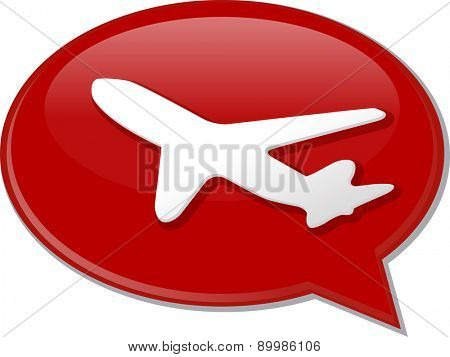 Word speech bubble illustration of discussion forum blog airplane air travel