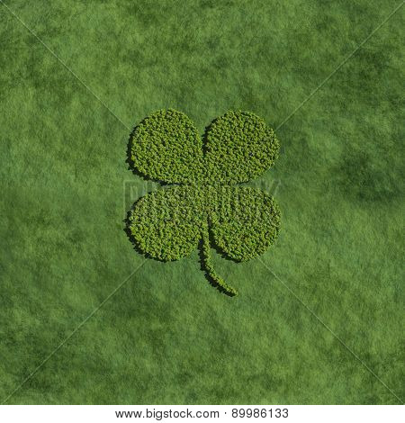 Four Leaf Clover Create By Tree With Grass Background