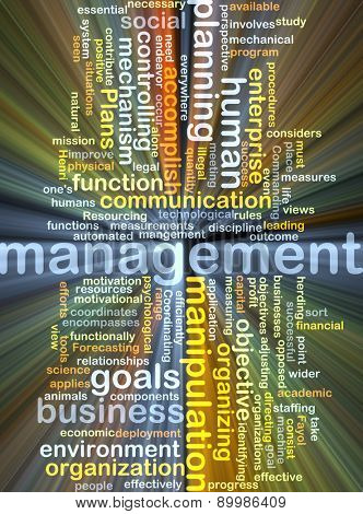 Background text pattern concept wordcloud illustration of management glowing light