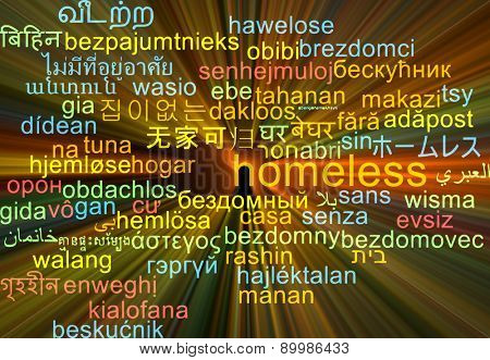 Background concept wordcloud multilanguage international many language illustration of homeless glowing light