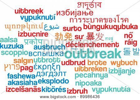 Background concept wordcloud multilanguage international many language illustration of outbreak