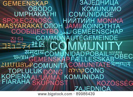 Background concept wordcloud multilanguage international many language illustration of community glowing light