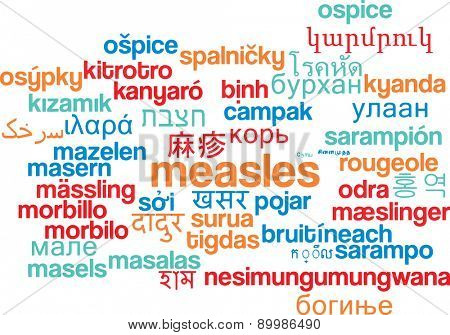 Background concept wordcloud multilanguage international many language illustration of measles