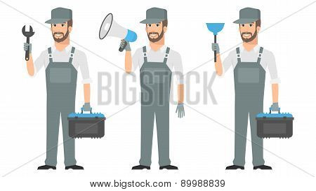 Repairman holding tools wrench megaphone plunger