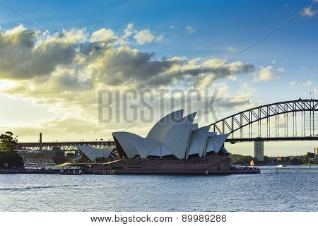 SYDNEY AUSTRALIA - JULY 6, 2015 : View of sunset at Sydney Opera House